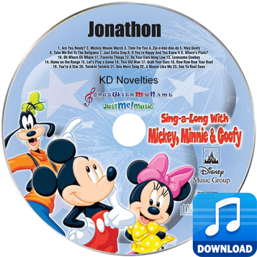 Sing a Long with Mickey Minnie and Goofy Personalized Children's Music CD MP3 Download