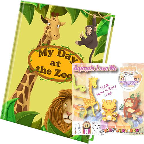 My Day at the Zoo Personalized Book and Animals Love Me Music CD