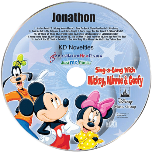 Sing a Long with Mickey Minnie and Goofy Personalized Music CD