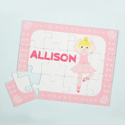 Blonde Ballerina Personalized Kids Jigsaw Puzzle