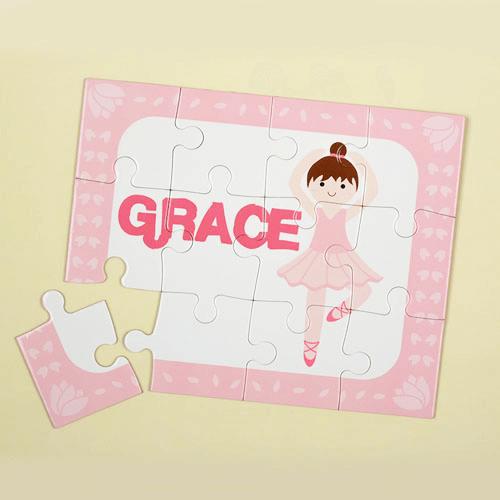 Brunette Ballerina Personalized Kids Jigsaw Puzzle