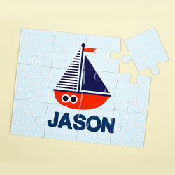 Sail Boat Personalized Kids Jigsaw Puzzle