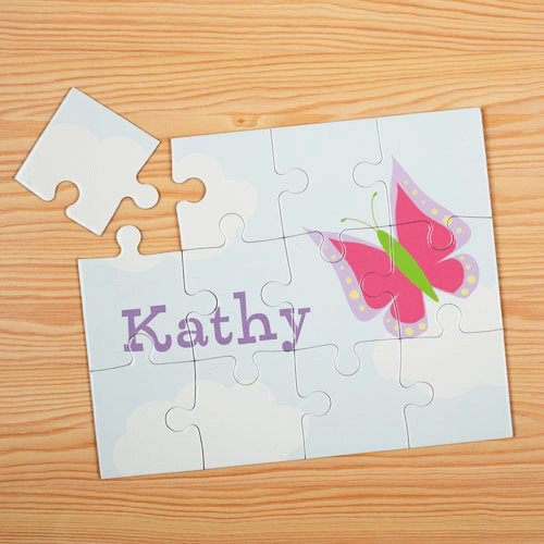 Butterfly Personalized Kids Jigsaw Puzzle