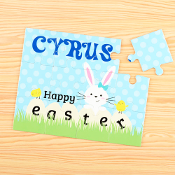 Easter Bunny Blue Personalized Children's Jigsaw Puzzle