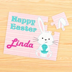 Easter Bunny Pink Personalized Children's Jigsaw Puzzle