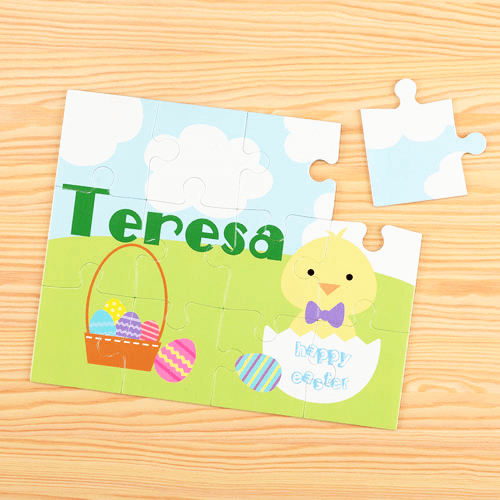Easter Chick Personalized Children's Jigsaw Puzzle