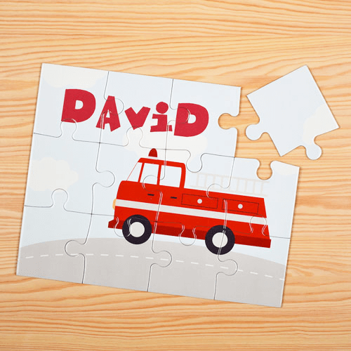 Fire Engine Personalized Kids Jigsaw Puzzle