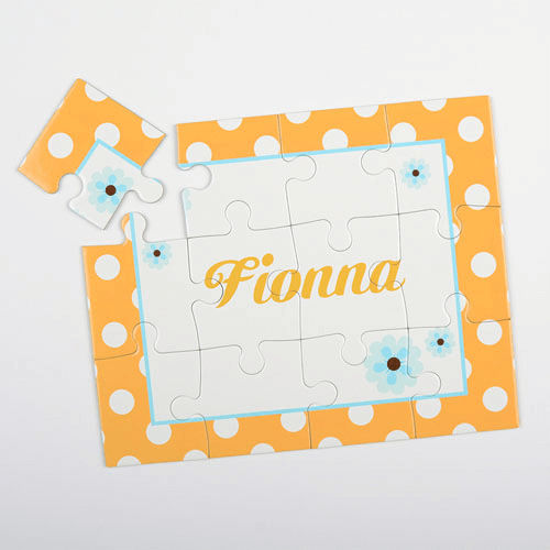 Dots and Flowers Kids Personalized Kid's Puzzle
