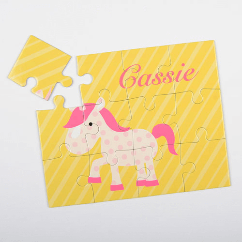 Horse Pink Polkadots Personalized Children's Jigsaw Puzzle
