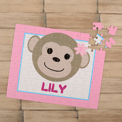 Monkey Girl Personalized Children's Jigsaw Puzzle