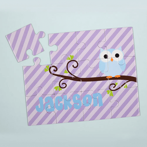 Lavender Owl Personalized Kids Jigsaw Puzzle
