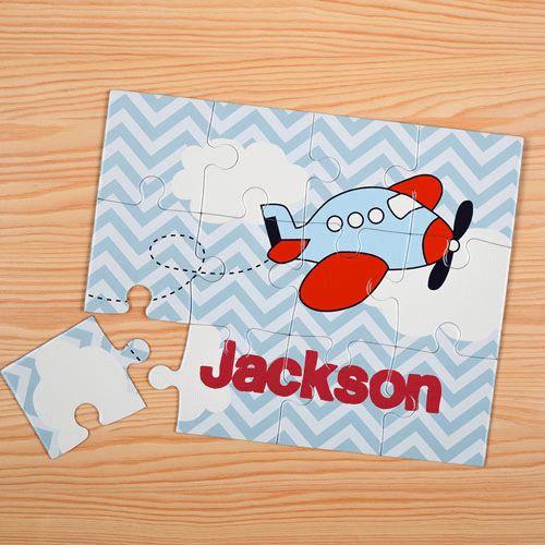 Chevron Plane Personalized Kids Jigsaw Puzzle