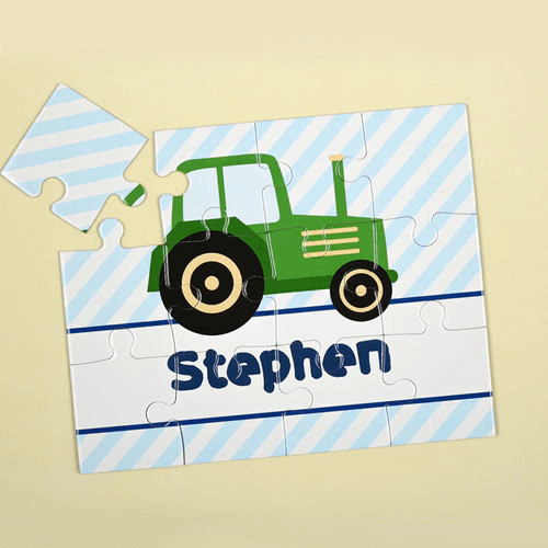 Green Truck Personalized Kids Jigsaw Puzzle