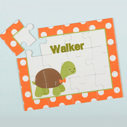 Polka Dot Turtle Personalized Kid's Puzzle
