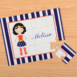 Blue Supergirl Personalized Kids Puzzle