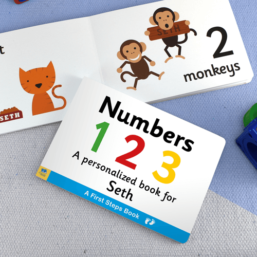 First Steps Numbers Personalized Board Book for Toddlers