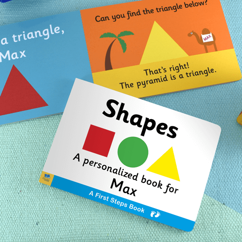 First Steps Shapes Personalized Board Book for Toddlers